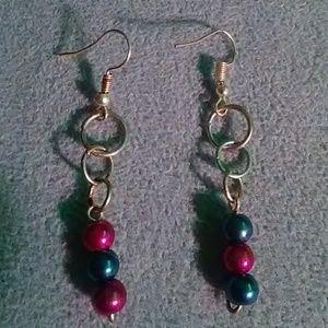Handmade Pink & Blue Glass Beaded Dangle Earrings